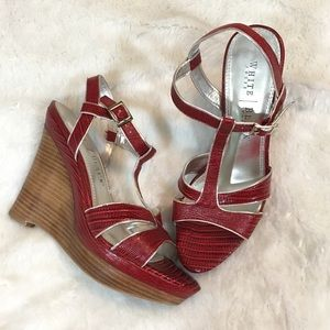 WHBM Red Embossed Strappy Wedges